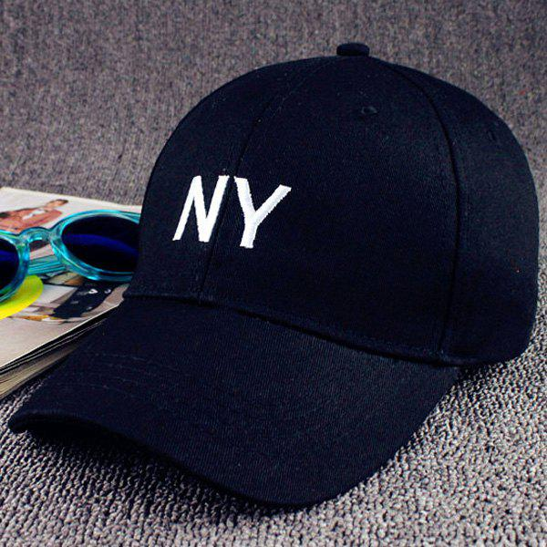 Summer Sunscreen Letters NY Embroidery Baseball Hat - BLACK