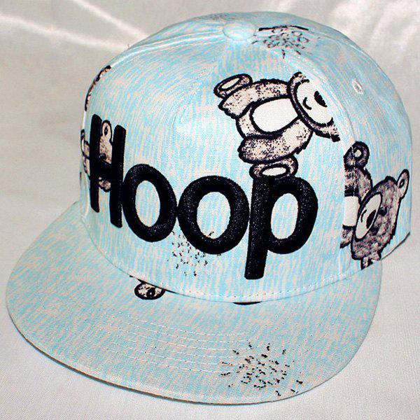Summer Sunscreen Letters Shape Embroidery Cartoon Toy Bear Baseball Hat - LIGHT BLUE