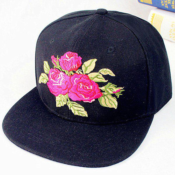Summer Sunscreen Rose and Leaf Embroidery Baseball Hat - BLACK