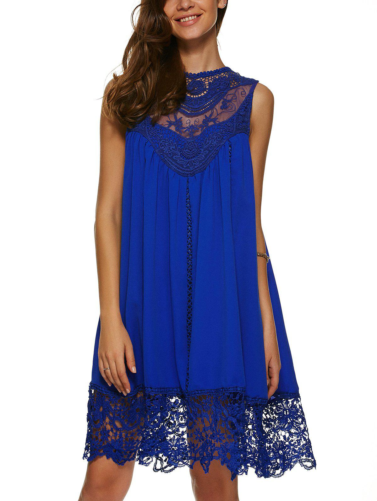 Lace Spliced Loose Fitting Shift Dress - SAPPHIRE BLUE XL