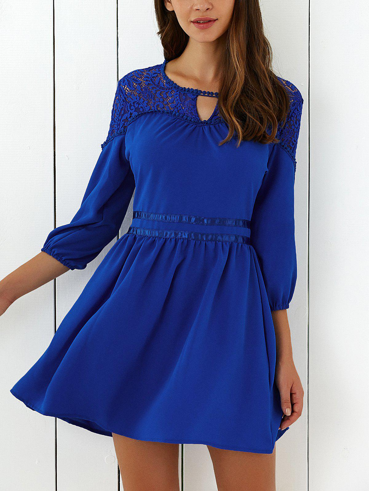 Lace Spliced 3/4 Sleeve Flare Mini Dress