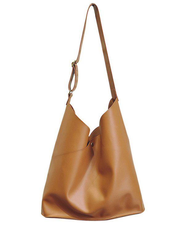 Casual Cut PU Leather Shoulder Bag - BROWN