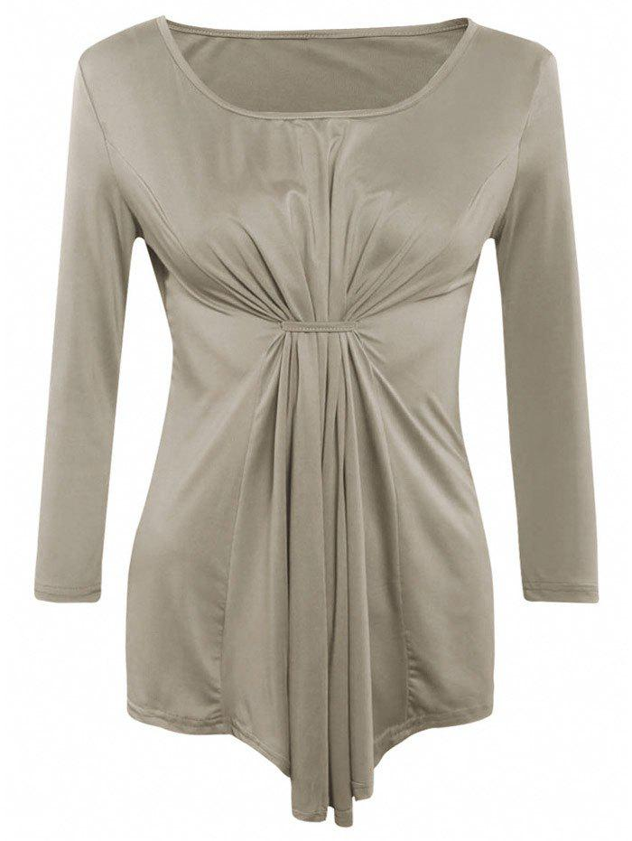 Asymmetrical Long Sleeves Ruched Blouse - COFFEE XL