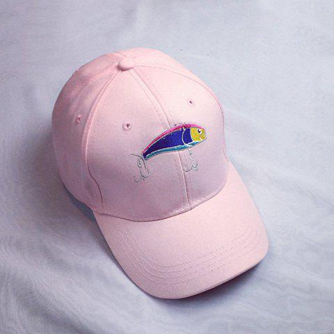 Summer Casual Fish and Fishhook Embroidery Faux Suede Baseball Hat - PINK