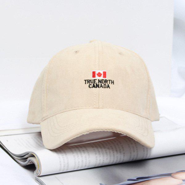 Summer Casual Canada Flag and Letters Embroidery Faux Suede Baseball Hat - LIGHT APRICOT