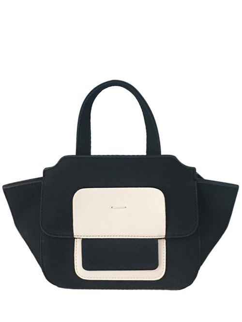 PU Leather Winged Color Block Tote Bag - BLACK