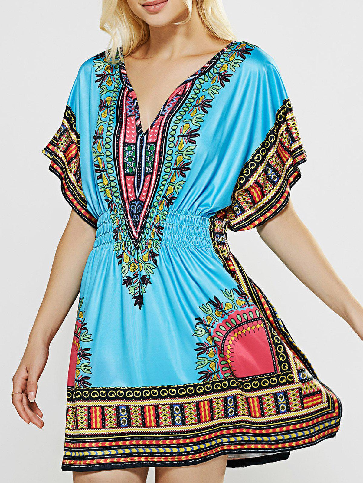 V-Neck Totem Printed Shirred Waist Dress - BLUE XL