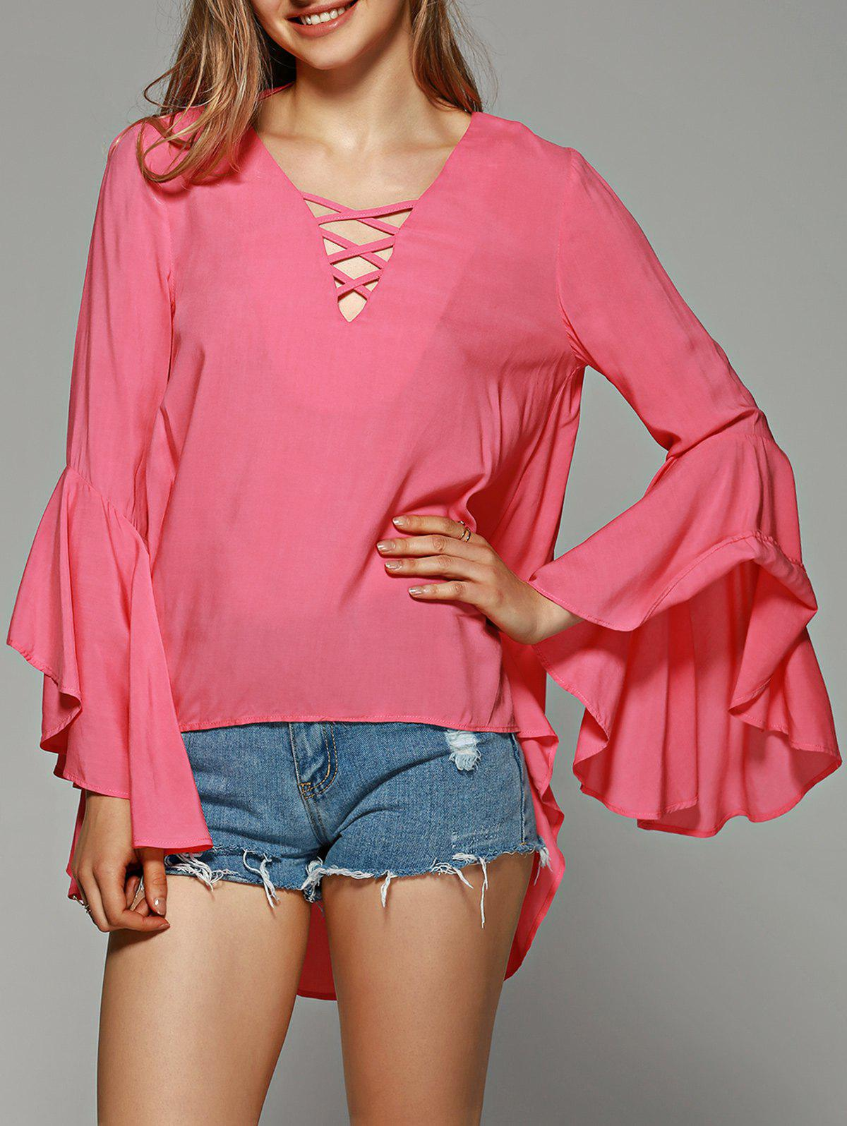 Flare Sleeve Lace-Up Asymmetrical Blouse - ROSE RED XL