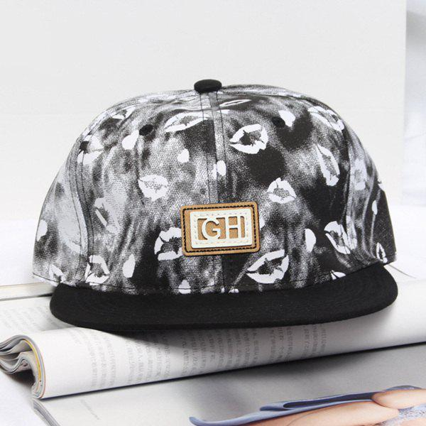 Summer Casual Letter Label Lips Pattern Baseball Hat - BLACK