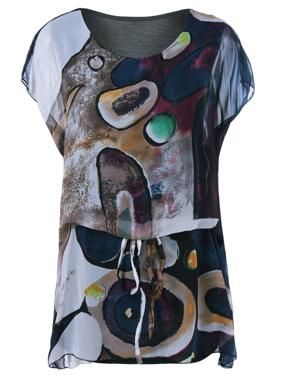 Cap Sleeve Loose-Fitting Print T-Shirt - COLORMIX ONE SIZE
