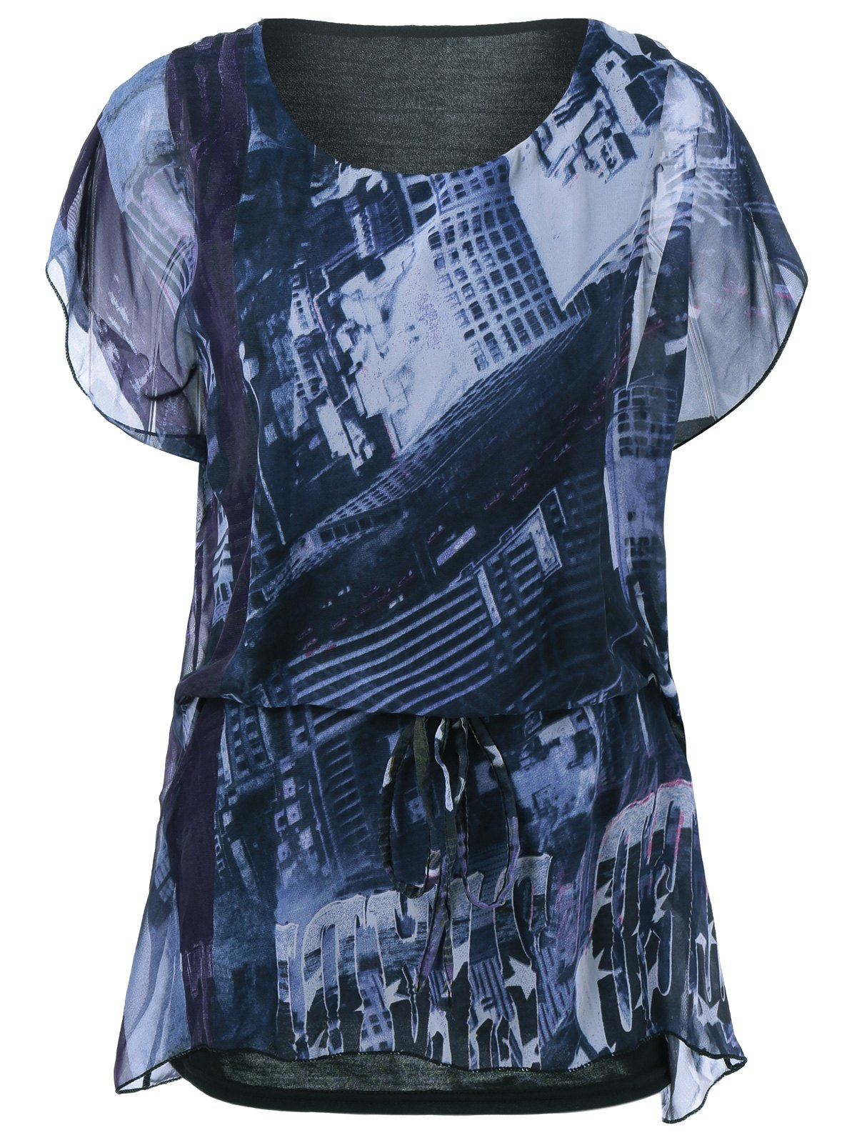 Cap Sleeve Loose-Fitting Printed T-Shirt - COLORMIX ONE SIZE
