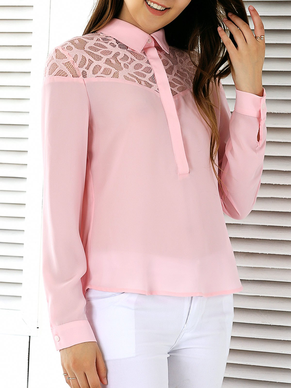 See-Through High Low Hem Blouse - SHALLOW PINK S