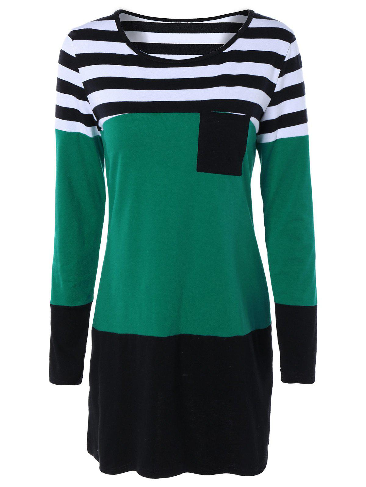 Long Sleeve Hit Color Striped Dress