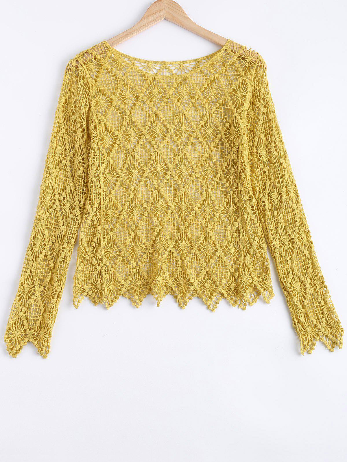 Trendy Cut Out Laciness Blouse - YELLOW ONE SIZE