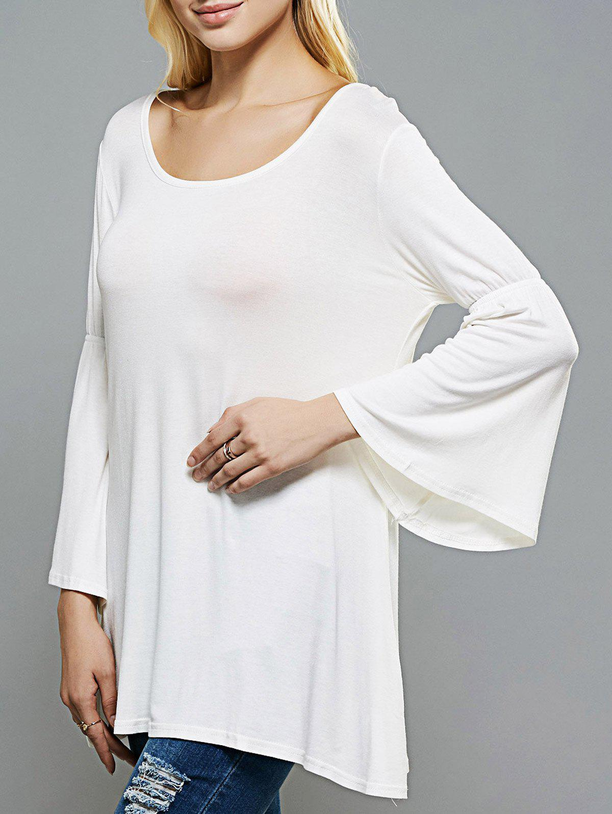Scoop Neck Flare Sleeve Longline Swing T-Shirt - WHITE XL