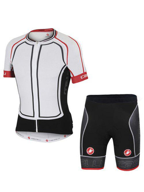 Fashion Spliced Shorts + Short Sleeves Jacket Bike Jerseys Twinset For Men
