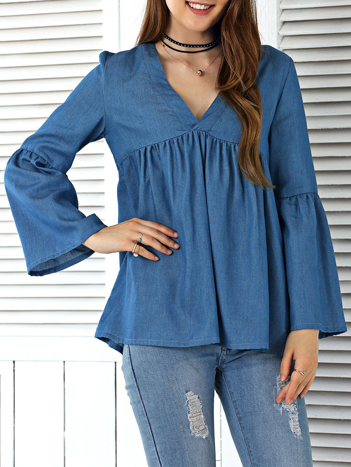 Flare Sleeve Ruched Denim Blouse - DENIM BLUE L