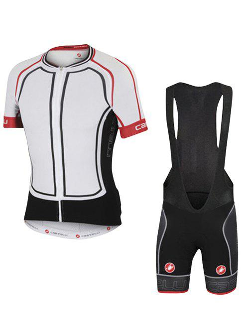 Fashion Spliced Bibshort + Short Sleeves Jacket Bike Jerseys Twinset For Men - 3XL WHITE
