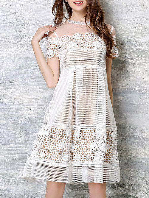 Floral Crochet High Waist Openwork Lace Dress - WHITE XL