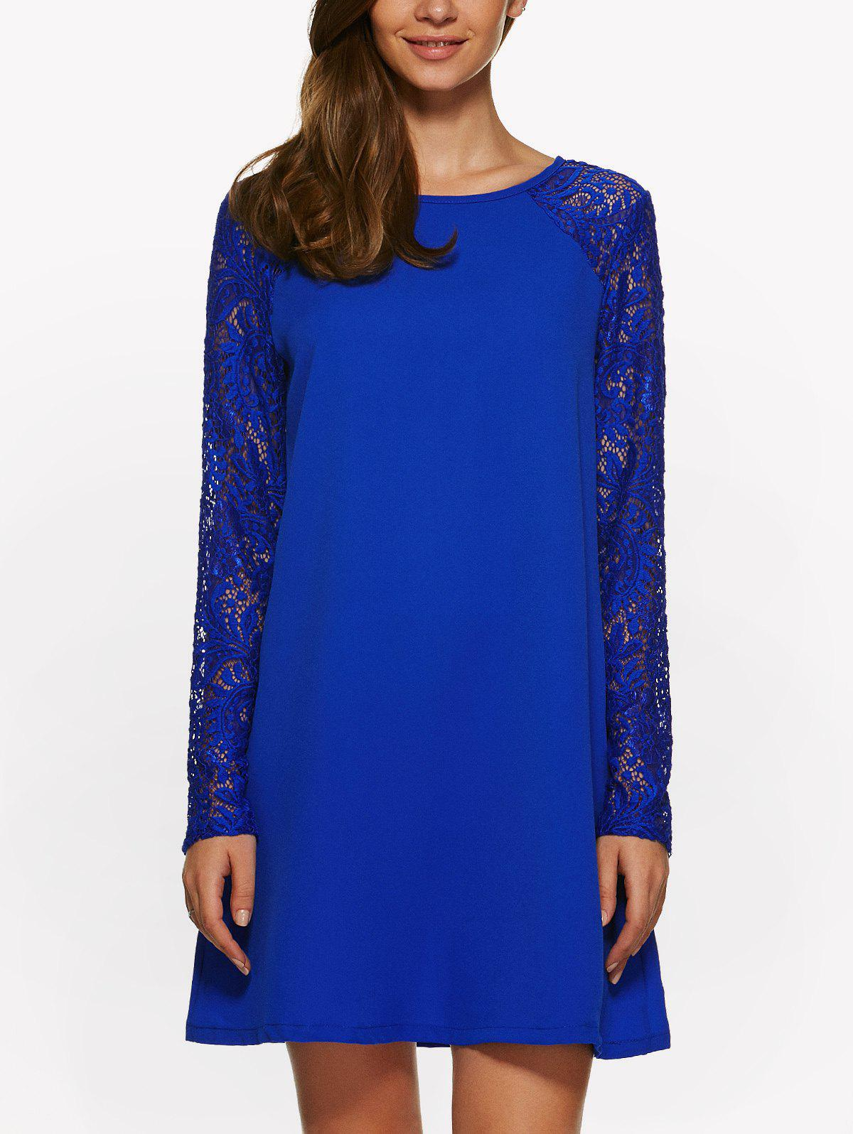 Long Sleeve Lace Jewel Neck Dress - SAPPHIRE BLUE XL
