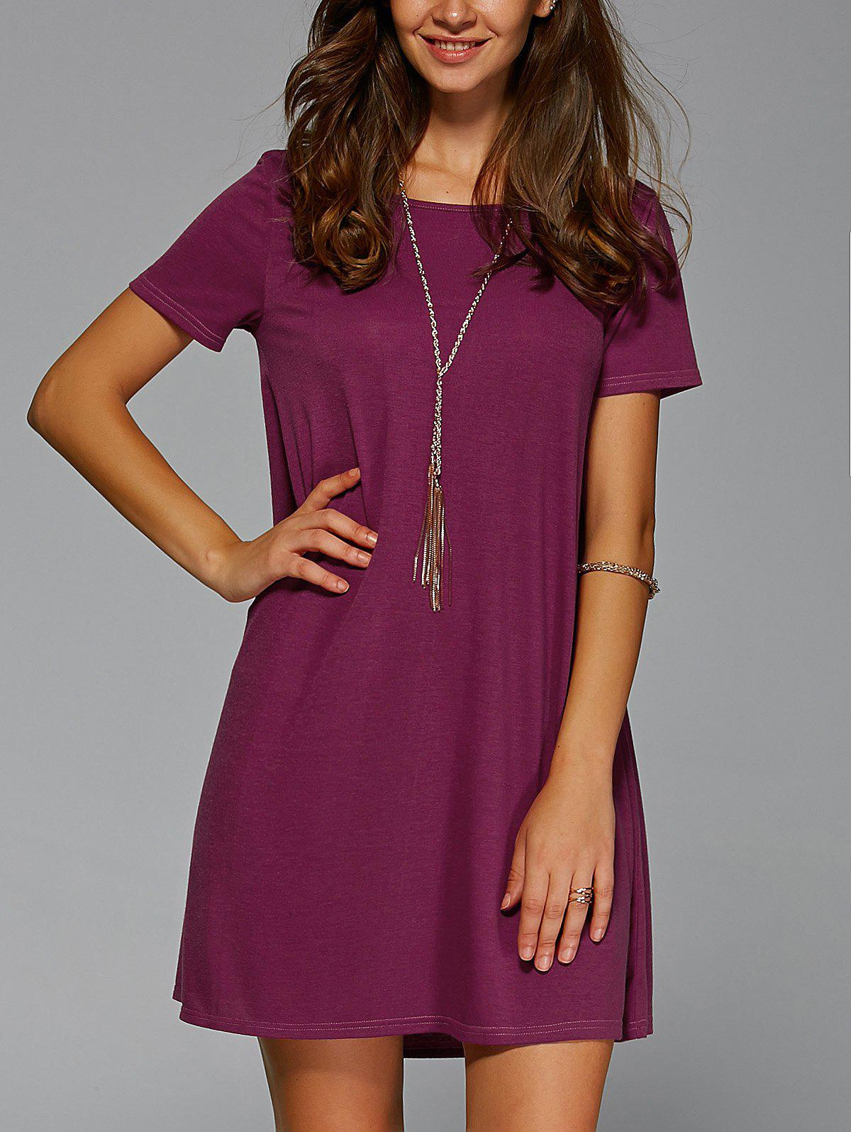 Brief Style Short Sleeve Jewel Neck Dress - DARK RED XL