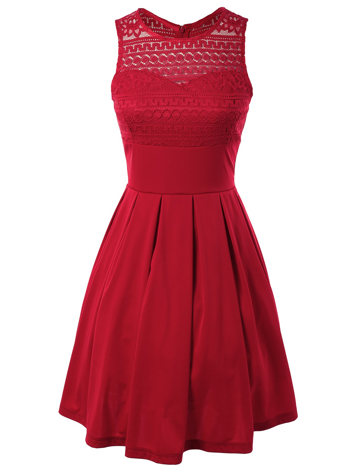 Sleeveless Lace Splicing Pleated Dress - RED XL
