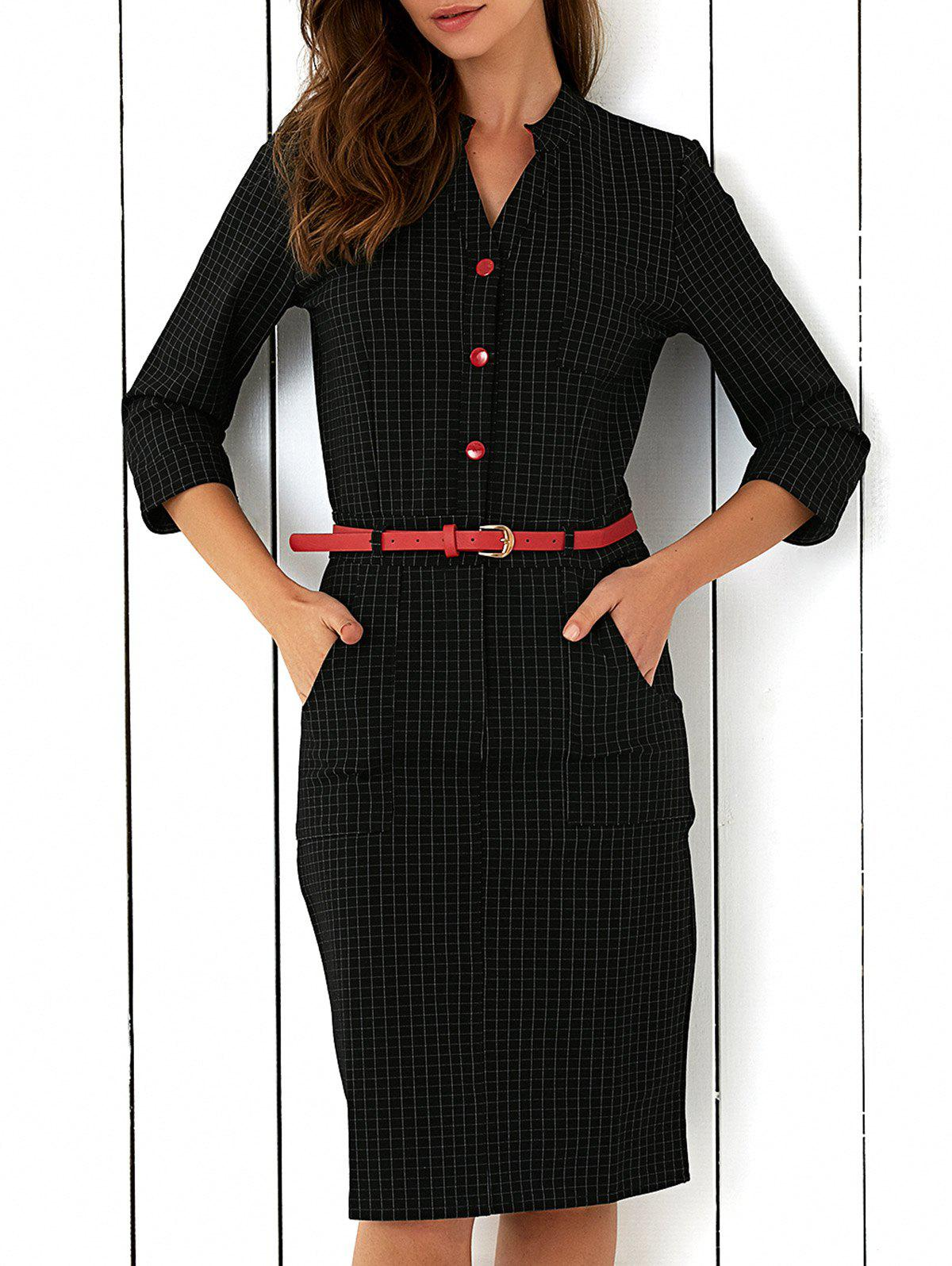 Plaid Button Design Tie Belt Dress - BLACK XL
