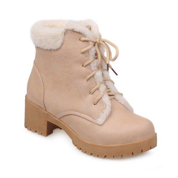 Round Toe Chunky Heel Tie Up Short Boots - APRICOT 37