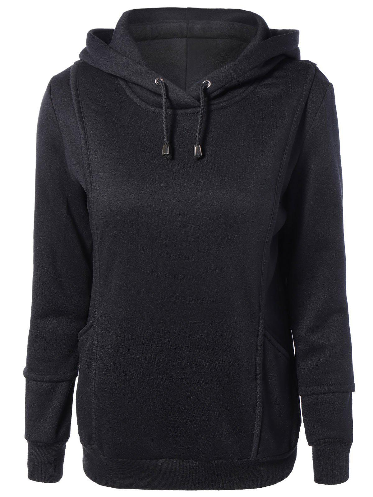 Spliced Long Sleeve Drawstring Hoodie