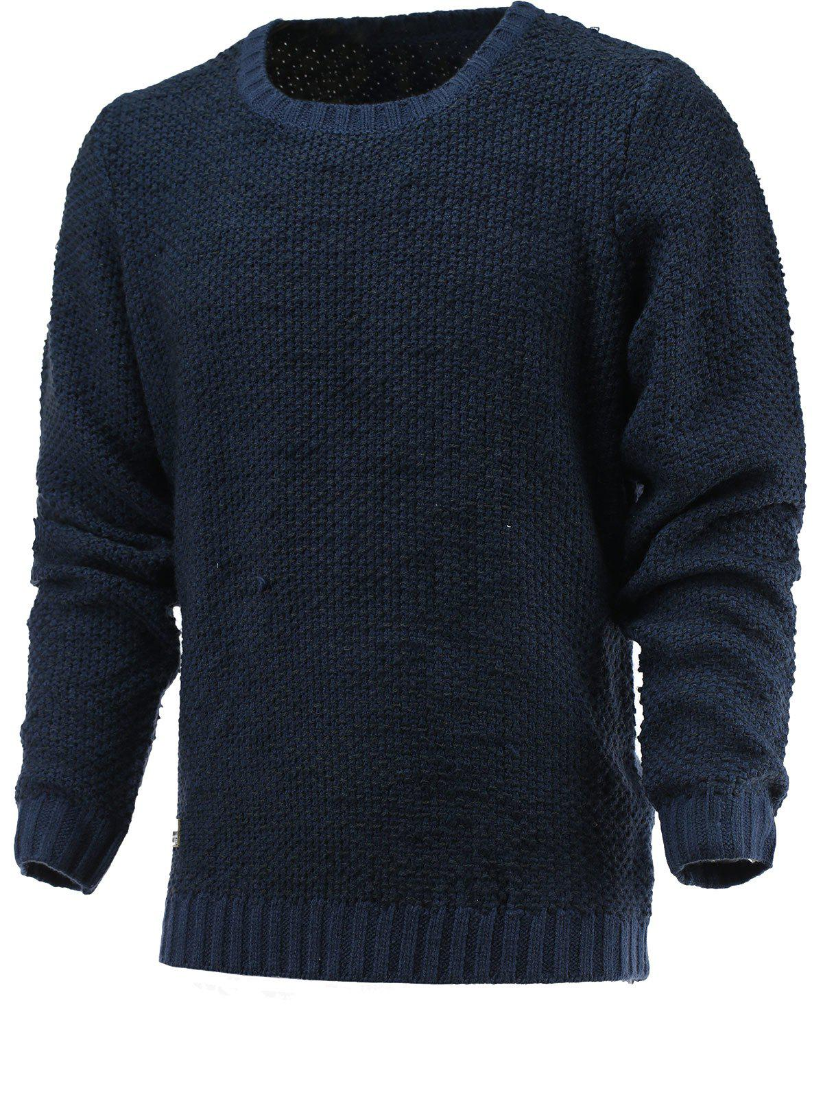 Brief Round Neck Long Sleeve Sweater - DEEP BLUE XL