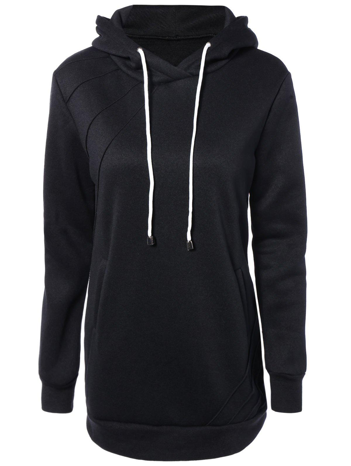 Slant Side Pocket Long Sleeve Drawstring Hoodie - BLACK XL