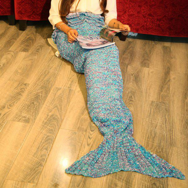 Fancy Falbala Photography or Sofa Mixed Color Knitted Mermaid Blanket - OCEAN BLUE