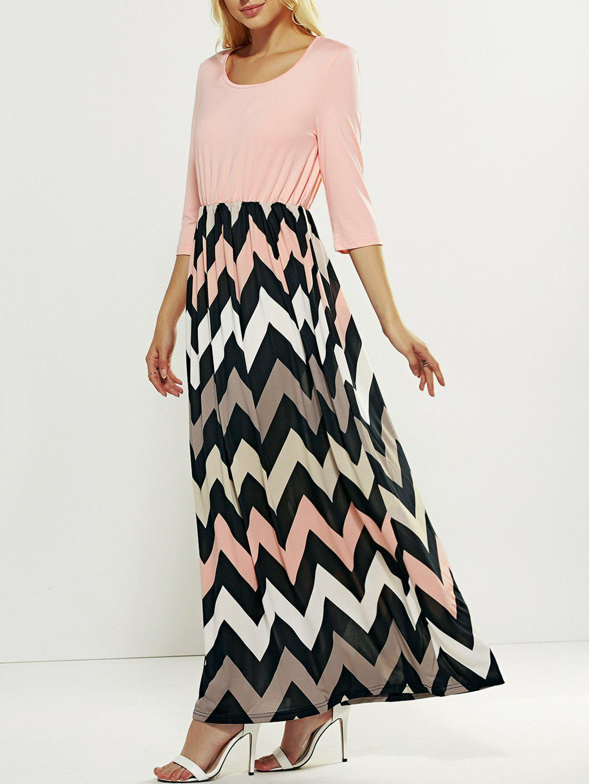 Zig Zag Striped Maxi Dress - PINK 2XL