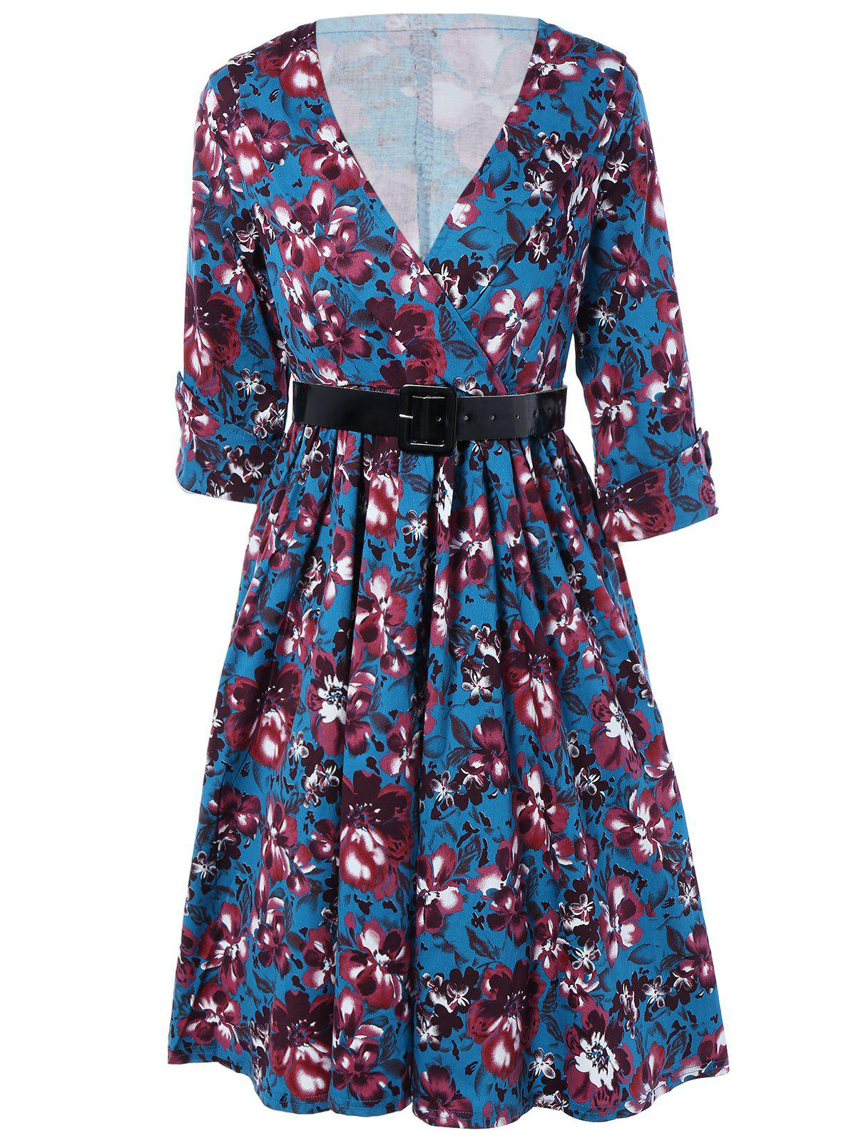 Retro Style Cuffed Sleeve Belted Floral Dress For Women - BLUE 2XL