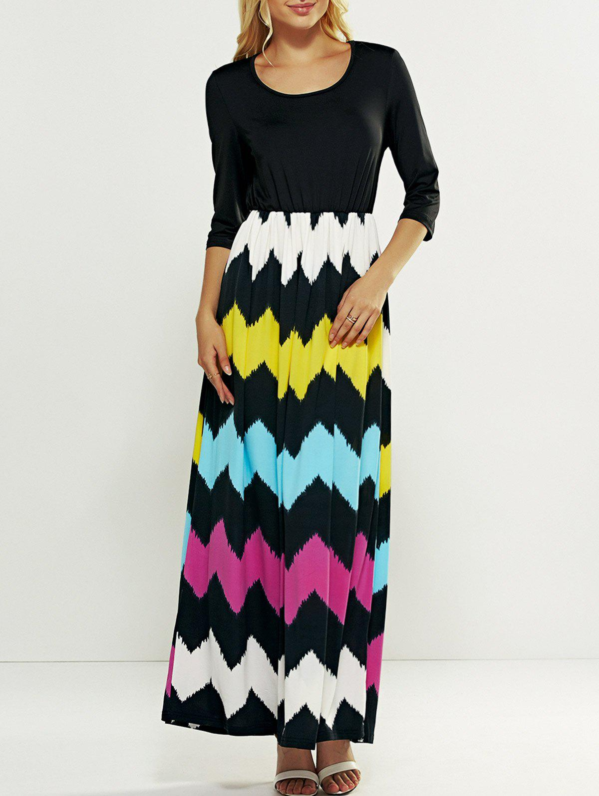 Hit Color Zig Zag Pattern Maxi Dress - BLACK 2XL