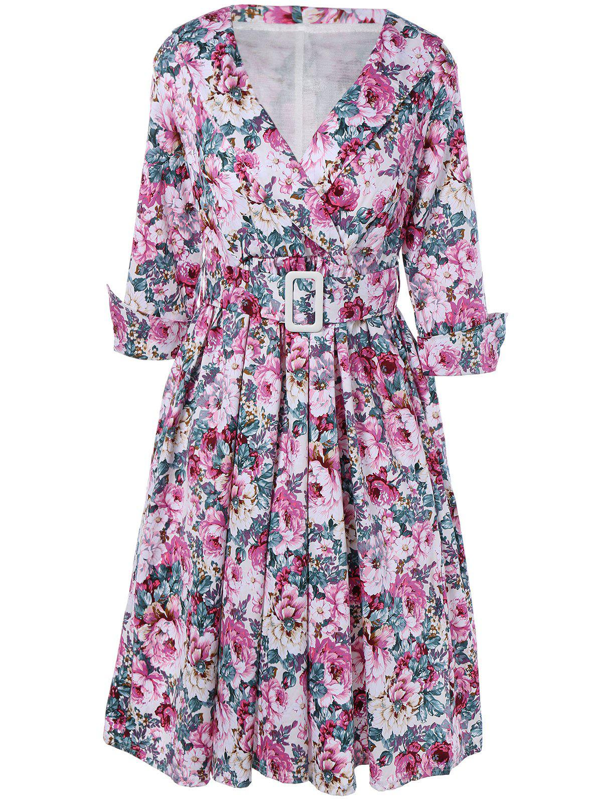 Vintage Surplice Shawl Collar Cuffed Sleeve Belted Floral Dress For Women