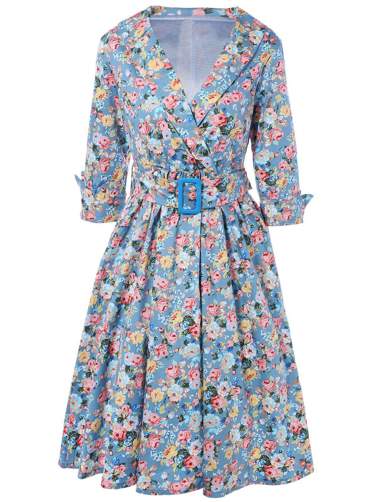 Vintage Belted Surplice Shawl Collar Cuffed Sleeve Floral Dress For Women - BLUE 2XL