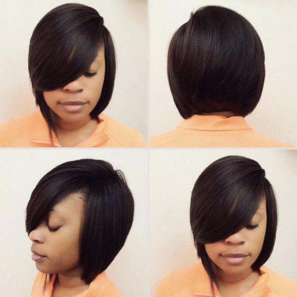 Silky Straight Short Capless Oblique Bang Human Hair Wig - JET BLACK
