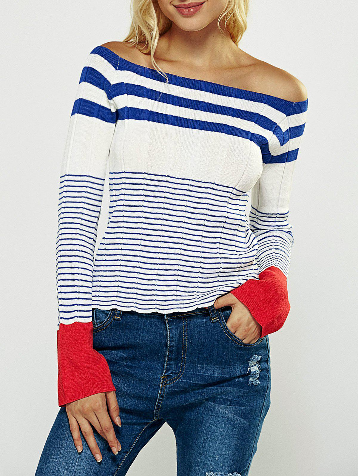 Brief Off-The-Shoulder Striped T-Shirt - WHITE ONE SIZE