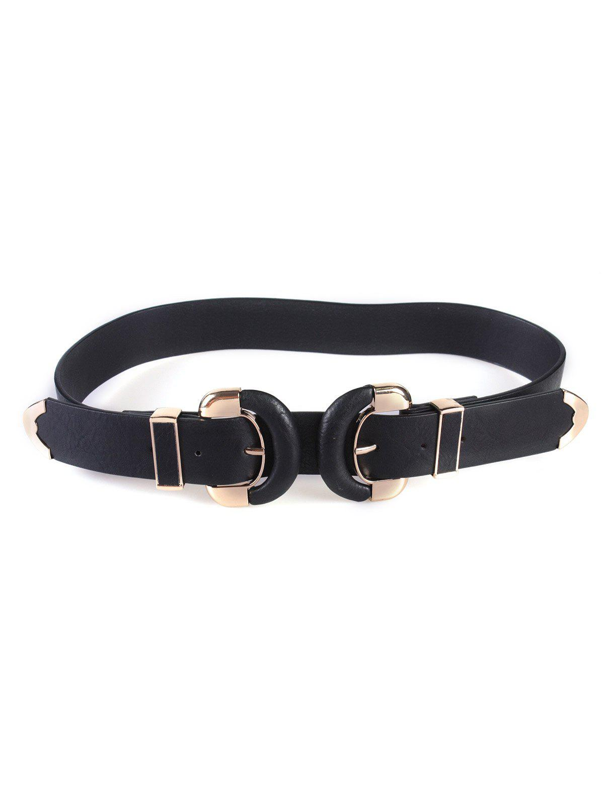 Double D Buckles Wide Belt - BLACK