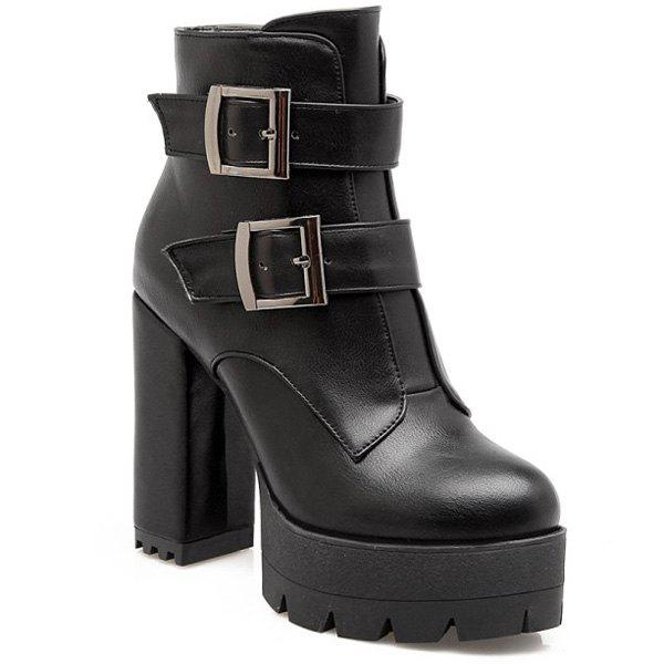 Platform Zip Double Buckle Short Boots - BLACK 38