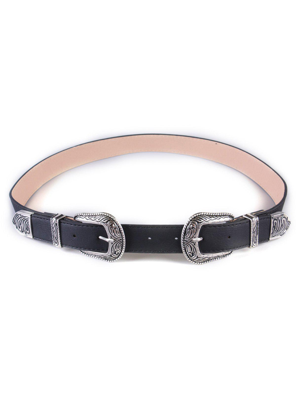 Retro Double Buckles Wide Belt - SILVER