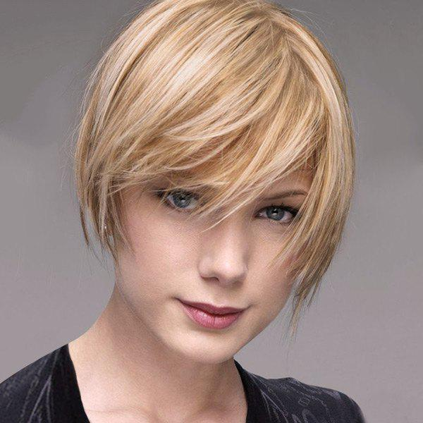 Side Bang Capless Asymmetric Pixie Bob Short Human Hair Wig - BROWN/BLONDE