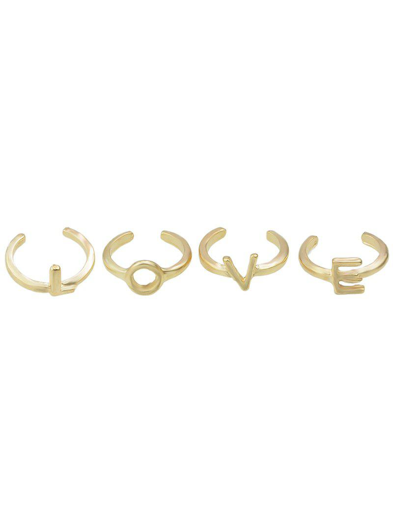 Letters Love Adorn Cuff Rings - GOLDEN ONE-SIZE