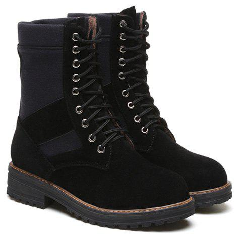 Round Toe Tie Up Splicing Boots - BLACK 39