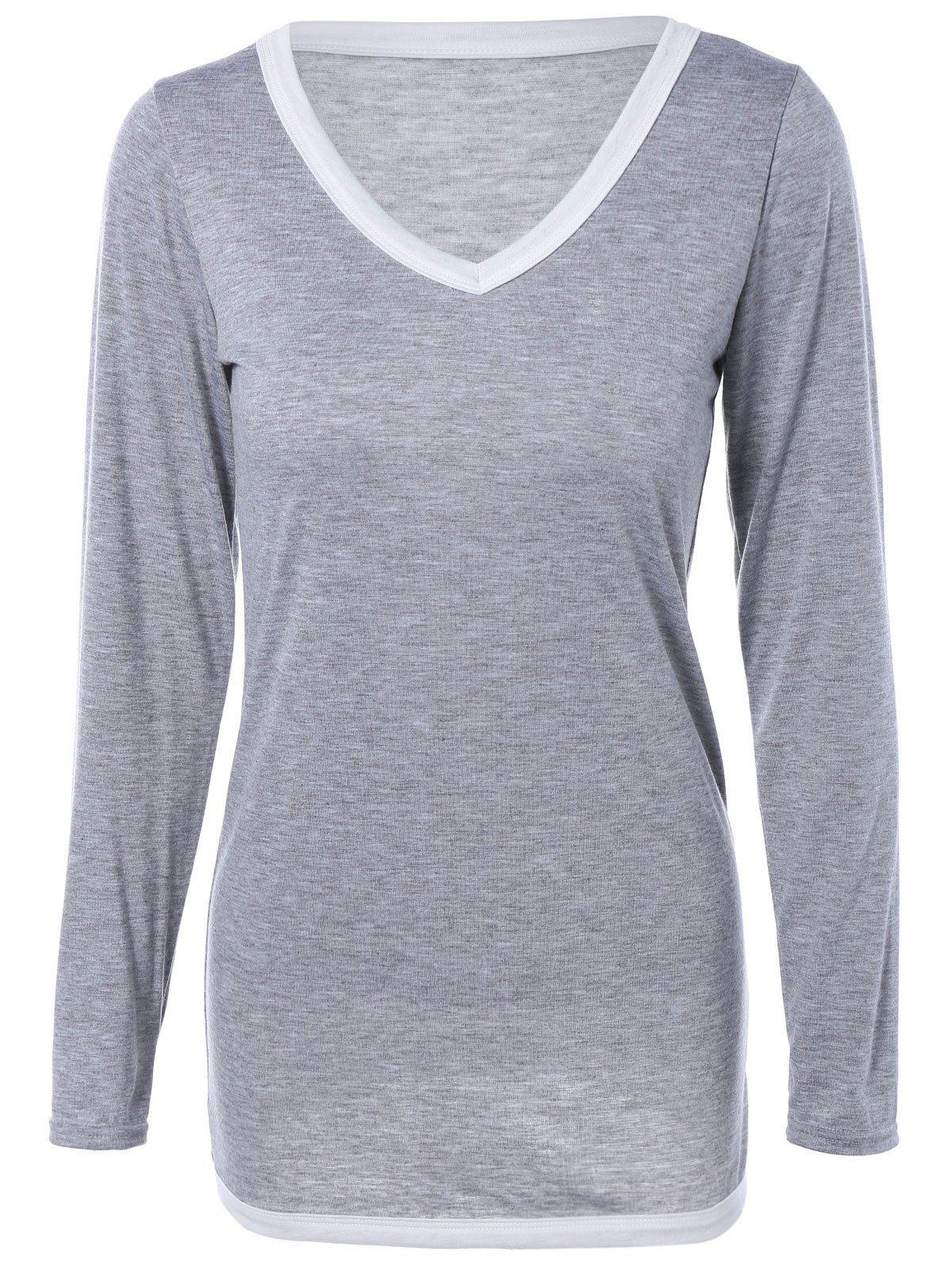 Contrast Trim V-Neck Long Sleeve T-Shirt - GRAY L