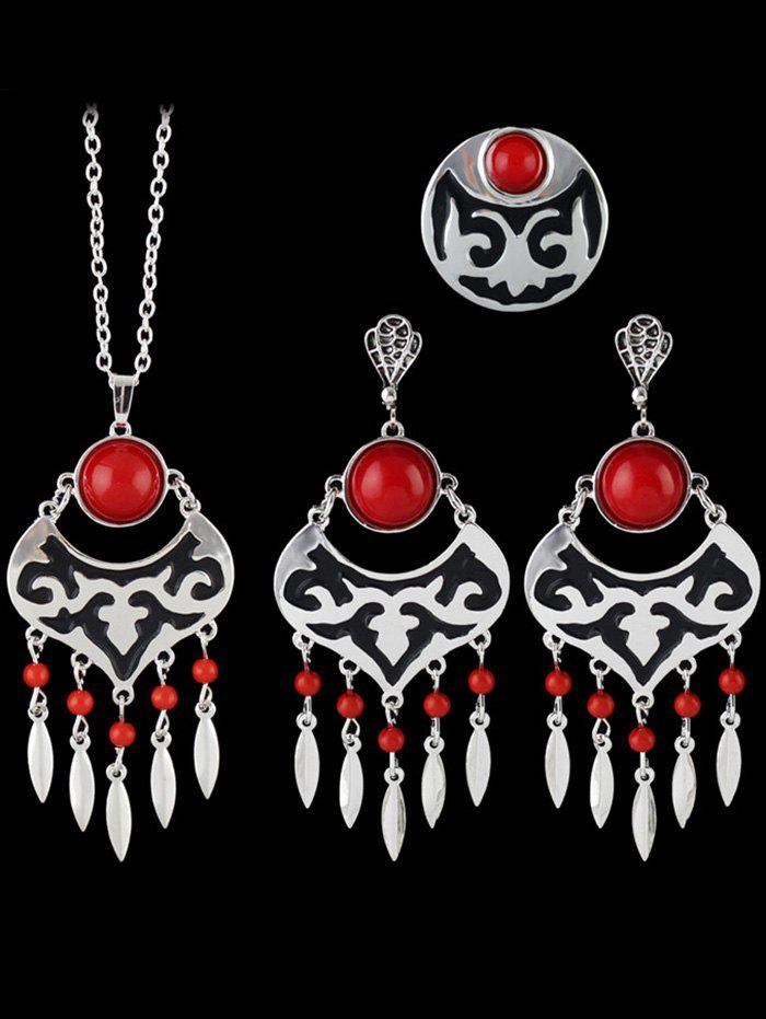 Hollow Out Leaf Beads Jewelry Set - RED ONE-SIZE