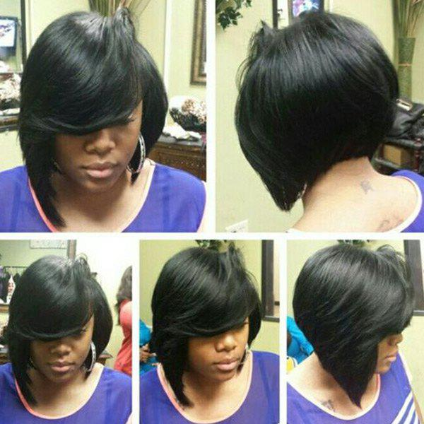 Straight Side Bang Silky Short Capless Human Hair Wig - JET BLACK
