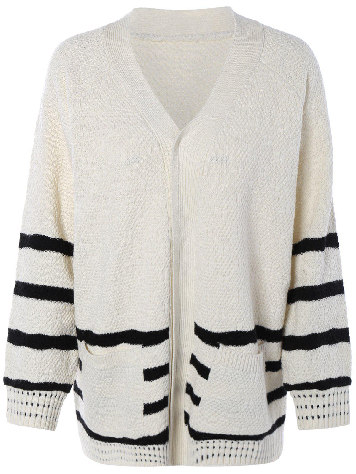 V-Neck Striped Pocket Design Sweater - WHITE ONE SIZE