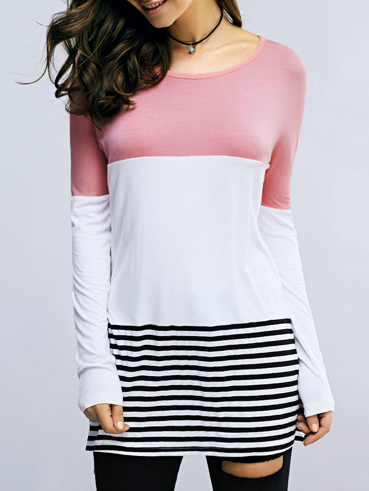 Striped Color Block Lace Patchwork T-Shirt - BLACK/WHITE/RED XL